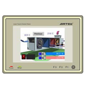 DST70P LCD touch control panel is designed to work with Airtek controllers by direct connecting to its MSnet MODBUS port.